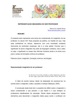 REPRESENTAÇÃO IMAGINÁRIA DO SER PROFESSOR