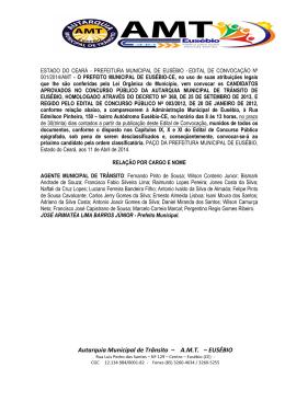 Autarquia Municipal de Trânsito – A.M.T. – EUSÉBIO