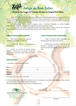 Contribua! - Hospital Espírita de Psiquiatria Bom Retiro