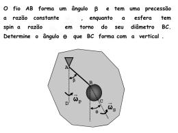 O fio AB forma um ângulo e tem uma precessão a razão