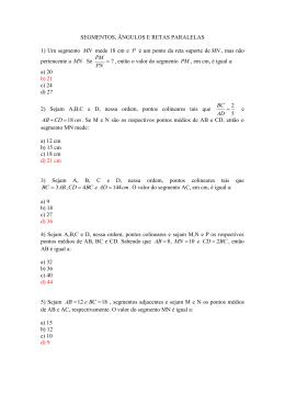 LISTA I - MAT II - SEGMENTOS, ANGULOS E RETAS PARALELAS