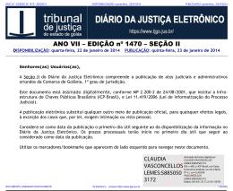 TJ-GO DIÁRIO DA JUSTIÇA ELETRÔNICO - EDIÇÃO 1470