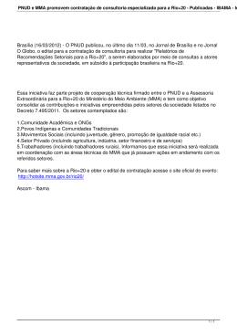PNUD e MMA promovem contratação de consultoria