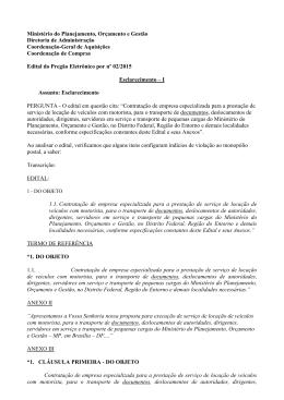Esclarecimento - Ministério do Planejamento, Orçamento e Gestão