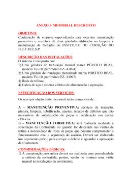 ANEXO I- MEMORIAL DESCRITIVO OBJETIVO: Contratação de