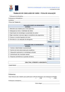TRABALHO DE CONCLUSÃO DE CURSO – FICHA DE AVALIAÇÃO