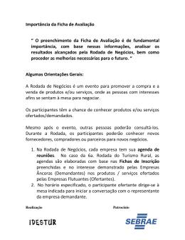 """Importância da Ficha de Avaliação """" O preenchimento da Ficha de"""