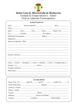 Ficha de avaliação em UTI (adulto)