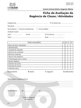 Ficha de Avaliação de Regência de Classe / Atividades
