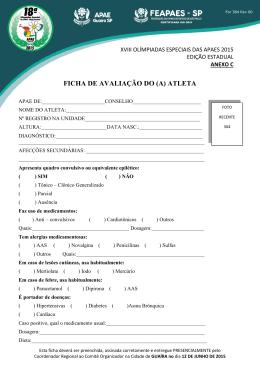FICHA DE AVALIAÇÃO DO (A) ATLETA