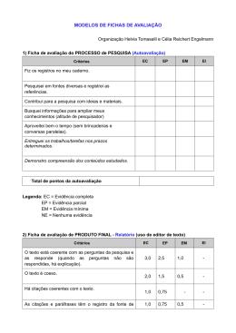 MODELOS DE FICHAS DE AVALIAÇÃO