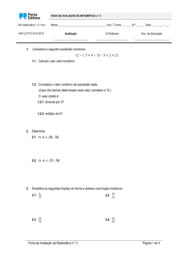 Ficha de Avaliação de Matemática n.º 3 Página 1 de 4 1