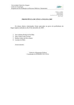 PROFICIÊNCIA DE LÍNGUA INGLESA 2005 . Os alunos abaixo