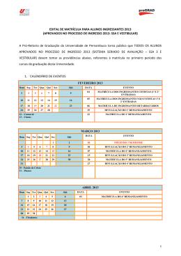 EDITAL DE MATRÍCULA PARA ALUNOS INGRESSANTES 2013