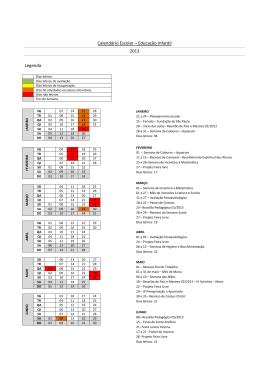 Calendário Escolar – Educação Infantil