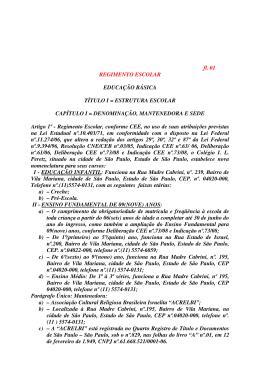 fl. 01 REGIMENTO ESCOLAR EDUCAÇÃO