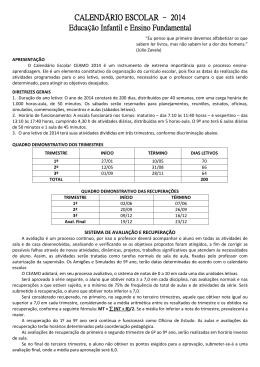 CALENDÁRIO ESCOLAR - FUNDAMENTAL