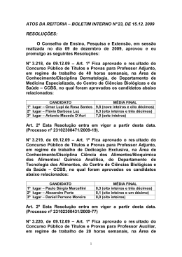 ATOS DA REITORIA – BOLETIM INTERNO N° 23, DE