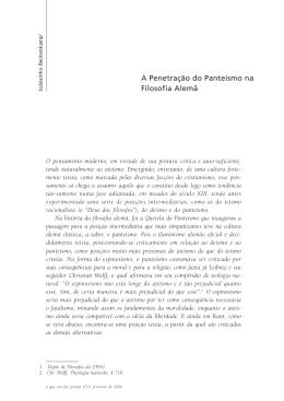 A Penetração do Panteísmo na Filosofia Alemã