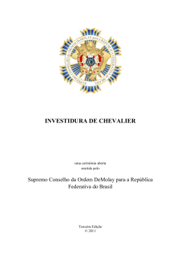 investidura de chevalier - Grande Conselho da Ordem DeMolay