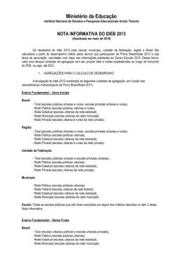 Nota Informativa do Ideb 2013