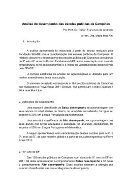 Análise do desempenho das escolas públicas de Campinas