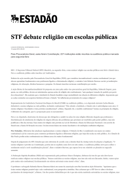 STF debate religião em escolas públicas (O Estado de S. Paulo, 13