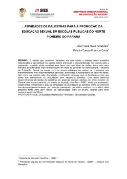 atividades de palestras para a promoção da educação sexual em