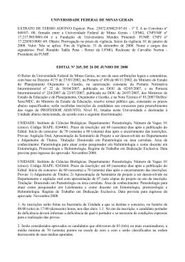 UNIVERSIDADE FEDERAL DE MINAS GERAIS EXTRATO DE
