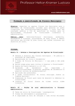Formação e Qualificaçã ção e Qualificação de Fiscais Municipais