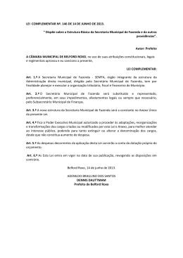 Dispõe sobre a Estrutura Básica da Secretaria Municipal de