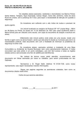 Exmo. Srº. SILVIO FÉLIX DA SILVA PREFEITO MUNICIPAL DE
