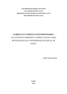 currículo e formação de professores: um estudo da proposta