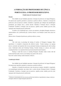 a formação de professores de língua portuguesa: o professor reflexivo.