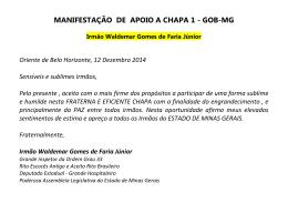 MANIFESTAÇÃO DE APOIO A CHAPA 1 - GOB-MG