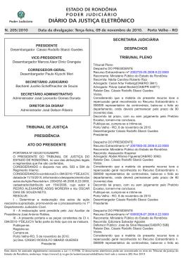 diário da justiça eletrônico - Tribunal de Justiça de Rondônia