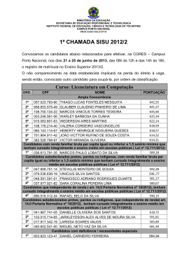 1° chamada - Instituto Federal do Tocantins