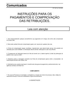Comunicados INSTRUÇÕES PARA OS PAGAMENTOS E