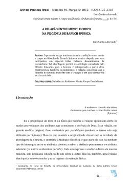 6 A relação entre mente e corpo na filosofia de Baruch Spinoza Luís