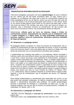 PRESSUPOSTOS EPISTEMOLÓGICOS DA EDUCAÇÃO Toda