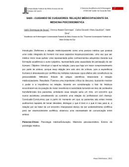 relação médico/paciente da medicina psicossomática