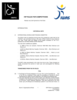 IWF RULES FOR COMPETITIONS