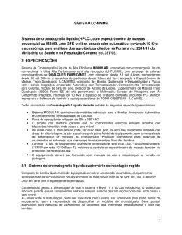 SISTEMA LC-MSMS Sistema de cromatografia líquida