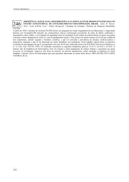 Freqüência alélicas da apoliproteína e na população de idosos