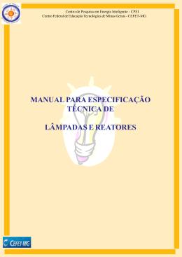 manual para especificação técnica de lâmpadas e reatores
