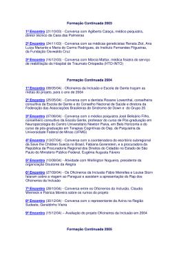 Formação Continuada 2003 1º Encontro (21/10
