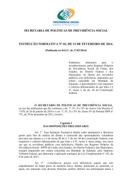 Instrução Normativa nº 02/2014 - Ministério da Previdência Social
