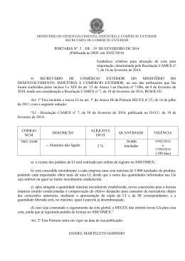 Portaria SECEX 05 de 2014 - Ministério do Desenvolvimento