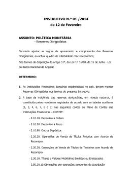 INSTRUTIVO N.º 01 /2014 de 12 de Fevereiro