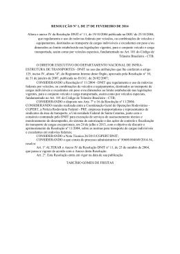 RESOLUÇÃO Nº 1, DE 27 DE FEVEREIRO DE 2014 Altera o